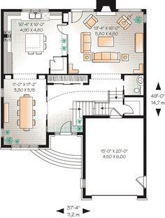 First Floor Plan of European   House Plan 65550