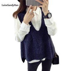 734c8dd30c 2018 Spring Autumn Wool Sweater Vest Women Sleeveless V-Neck Knitted Vests  Long Sections Poullover Vest Female Jumper pull femme