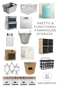 A collection of farmhouse storage ideas that are both pretty and functional, and perfect for every single room in the house!
