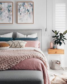 """Original """"Sage For Days I"""" and """"Sage For Days II"""" paintings in Tarina Lyell's master bedroom (Image courtesy of Oh.Eight.Oh.Nine)"""