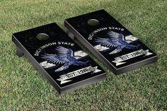 Dickinson State Blue Hawks Rustic Established Banner Cornhole Game