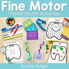 Teach dental health to your preschoolers, kindergarten, or homeschool students with these 10 fine motor skills activities. The activities can be performed multiple ways, as the activities will always help develop the budding fine motor skills of prek or kinder students. Some of the activities are printables, others require little prep work. These are perfect for small groups, morning tubs, centers, or any time you want your students to practice their fine motor skills. #DentalHealthMonth