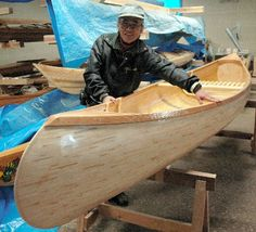 handmade wooden canoe... from re-used chop sticks