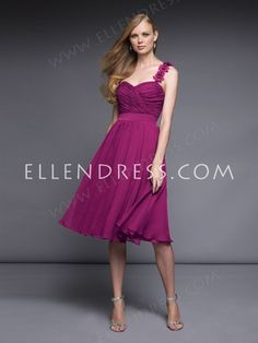 A-line One Shoulder Sleeveless Knee-length Chiffon Cheap Party Dress #USAZT760 - Cocktail Dresses - Special Occasion Dresses