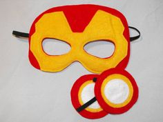 Ironman felt mask and cuffs by CapesNCrowns on Etsy