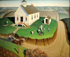 Grant Wood - Arbor Day, 1932 (Image used on Iowa 2004 US Quarter Dollar Coin) Boston Museum of Fine Art Grant Wood Paintings, Artist Grants, Wood Arbor, Stone City, Arbour Day, American Gothic, Galerie D'art, Art For Art Sake, Naive Art