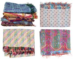 Kantha quilts, an embroidery technique used in Bangladesh made from recycled saris.