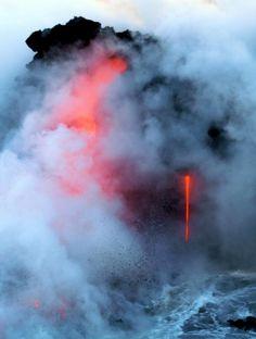 lava and smoke