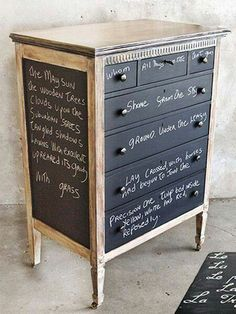 Chalkboard paint+old dresser=fabulous! maybe something like this - silver foil / spray paint frame with black / wood drawers?