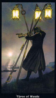 The Three of Wands - Steampunk Tarot