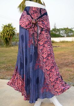 SKIRT AB212 HIPPY BOHO MAXI GYPSY CASUAL COCO BUCKLE LONG SKIRT COTTON WOMAN #Unbranded #Gypsy