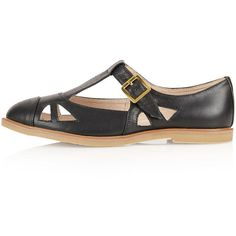TOPSHOP MARTINA T Bar Geek Shoes (€54) ❤ liked on Polyvore featuring shoes, flats, black, t strap flat shoes, flat pumps, black shoes, black leather shoes and t strap flats