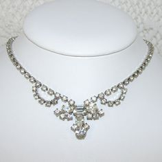 Vintage Rhinestone Necklace 1950s Choker Bib Wedding Bridal Formal