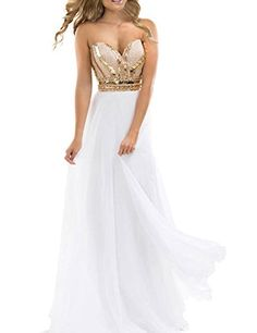 TrendProm Womens Prom Dresses A Line Chiffon Beaded Bodice Evening Gowns Size 6 US White -- Want to know more, click on the image.
