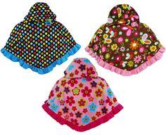 Mack & Co Girls Hooded Fleece Poncho 2T 3T 4T 4  Ruffle Trim Toddler Hoodie NEW #MackCo #Coat #DressyEverydayHoliday