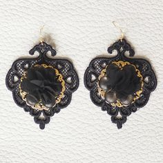 Check out this item in my Etsy shop https://www.etsy.com/listing/570236879/lace-earrings-in-black-colour-with-small