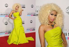 Nicky Minaj wearing a stunning yellow dress at the American Music Awards