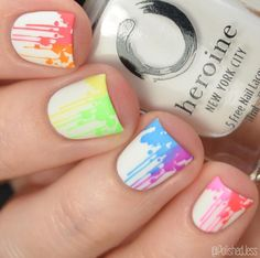 french nails spring Tips Simple Nail Art Designs, Best Nail Art Designs, Beautiful Nail Designs, Nail Designs For Kids, Summer Pedicure Designs, Cute Summer Nail Designs, Short Nail Designs, Neon Nail Art, Nail Art Diy