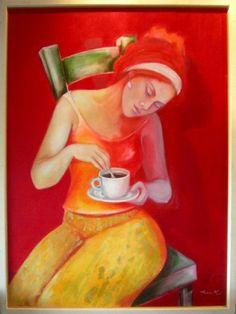 Roxana Brizuela nice painting, albeit a bit reddish. Coffee Cafe, Coffee Set, Black Coffee, Best Coffee, Coffee Corner, Cafe Art, Coffee Girl, My Cup Of Tea, Fun Drinks
