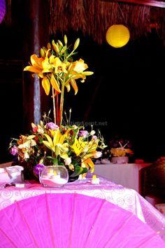 Yellow flower centerpieces.