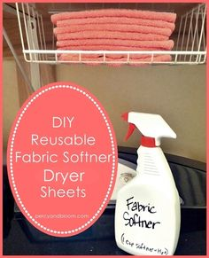 DIY reusable fabric softener dryer sheets...1 c fabric softener in an old Shout bottle, then fill up the rest with water. Spray on a rag 3-4 times and throw in the dryer.
