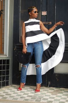 by LaShoundra Young Black And White Tops, Fashion Over, Get Dressed, My Outfit, Color Blocking, Bell Bottom Jeans, Dress Up, Couture, Casual