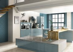 For a cool, calm environment when cooking up a storm, blues are the new neutral.