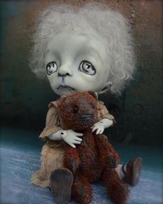 Goth girl farts on teddy bear