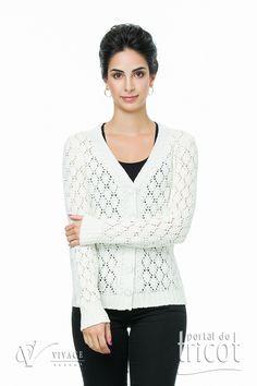 Portal do Tricot Blouse, Lace, Long Sleeve, Sleeves, Tops, Women, Fashion, Elegant Woman, Charms