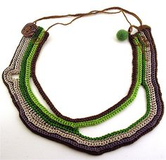 green/brown/silver crochet necklace