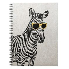 Cool cute funny zebra sketch with  trendy glasses note books