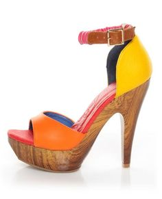 Bring on the brights in the Mona Mia Trinidad Multi Color Block Platform Heels! Orange, pink, yellow, and red vegan leather high heels. Sexy Heels, High Heels, Vegan Shoes, Hot Shoes, Shoes Heels, Pumps, Shoe Closet, Beautiful Shoes, Shoe Game
