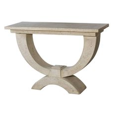 A stunning stone console table in a time-honoured design.Looking as if it has been unearthed from an elegant Roman villa, this graceful console table made of natural stone shaped into a classical design featuring semi-circles, is a sophisticated choice for a contemporary interior. Despite all our new inventions there are some designs from ancient civilisations which cannot be beaten and this is surely one. ALL SCOTLAND CUSTOMERS: Additional shipping fees will apply so please contact us via…