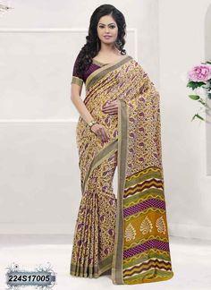 Blooming Multi Coloured Poly Silk Printed Saree