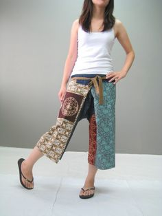 Thai Fisherman Pants - Now, those are practical, maybe even a little shorter. Above knee? Oh, yeah, beachwear.