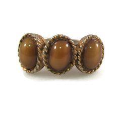 New to VintageVegasGems on Etsy: Faux Tigers Eye Three Stone Adjustable Ring (8.00 USD)