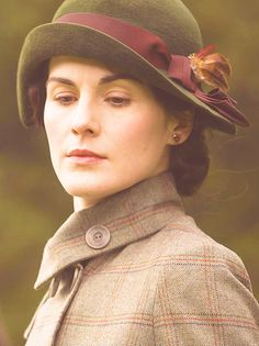 """Lady Mary Crawley's wool, dark brown upbrimmed cloche hat w/ maroon ribbon & decorative feather for the Autumn 'Shooting Party"""""""