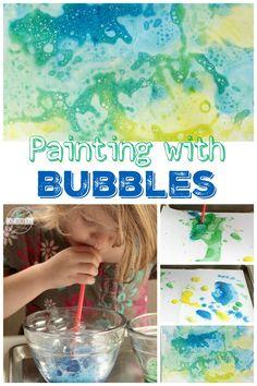 Foam Bubble Painting - a fun crafts for toddler, preschool, prek, kindergarten, first grade, 2nd grade, 3rd grade, 4th grade, and 5th grade students for any time of the year!