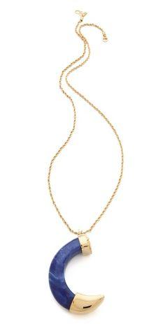 Large Lapis Tusk Pendant Necklace