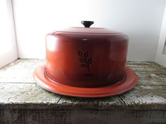 Your place to buy and sell all things handmade Pie Carrier, Cover Lock, Round Cakes, Rust Color, Cake Plates, Butter Dish, Orange, Vintage, Etsy