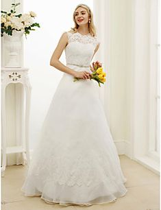 199.99  A-Line Illusion Neck Floor Length Organza   Lace Bodice  Made-To-Measure Wedding Dresses with Appliques   Sash   Ribbon by LAN TING  BRIDE® ... cecec933a0e3