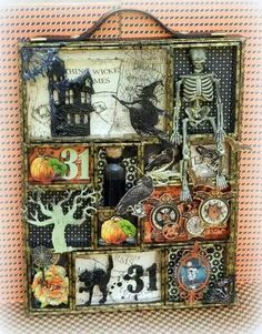 Hi, today I'll share with you some Halloween projects using Imaginarium Designs chipboard. First, I've made this configuration box: I. Halloween Designs, Retro Halloween, Halloween Diorama, Halloween Shadow Box, Halloween Paper Crafts, Holidays Halloween, Holiday Crafts, Happy Halloween, Halloween Decorations