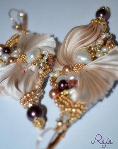 "Shibori silk earrings ""Shimmering Shells"" entirely hand-sewn, handmade in Italy. www.rejesoutache.com https://www.facebook.com/rejegioielliinsoutache"