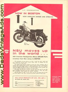 1961 NSU Motorcycle American Headquarters moves to Boston