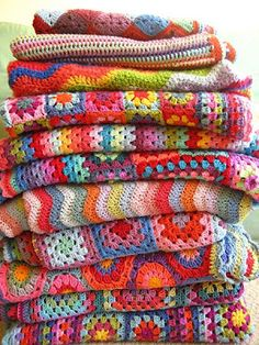 Yarn blankets with tons of color.