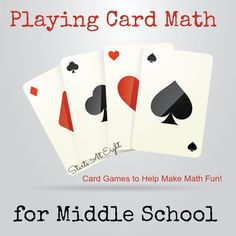 Playing Card Math for Middle School offers a break from the daily drone of textbooks by giving the kids a way to have fun while still learning math concepts - May 11 2019 at Middle School Activities, Middle School Classroom, Math Classroom, School Fun, School Ideas, Summer School, Classroom Ideas, High School, Classroom Projects