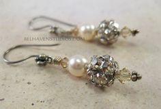 Disco ball crystal sterling silver earrings by BelhavenStudios