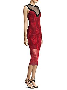 Diane von Furstenberg Beaded Lace Sheath Dress