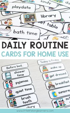 Routine Cards Daily routine cards for making visual timetable and schedules for toddlers, preschool, tot school and Kindergarten Daily Routine Chart For Kids, Daily Routine Schedule, Schedule Cards, Charts For Kids, Toddler Routine Chart, Daily Routines, Morning Routine For Kids, Morning Routine Printable, Toddler Reward Chart