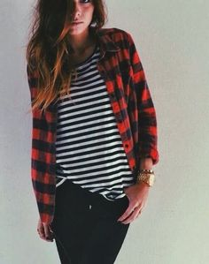 Buffalo plaid unbuttoned. I have a shirt like this and jeans...just need the flannel!